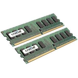 CRUCIAL CCUCIAL 4GB KIT (2GBX2) 240-PIN DDR2-667 PC2-5300 CT2KIT25672AA667 ECC