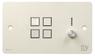 SY Electronics SY KP4V Panel 4 button+volum 147x86 hvit 4xIR/RS-232, 2xInPorts, 2xRelay TriColor