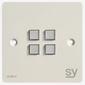 SY Electronics SY KPM4 Panel 4 button 86x86 hvit 2xIR/RS-232, 2xInPorts, 2xRelay Blue LED