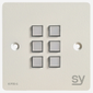 SY Electronics SY KPM6 Panel 6 button 86x86 hvit 2xIR/RS-232, 2xInPorts, 2xRelay TriColor