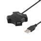 DELTACO USB 2.0 hub, 4xType A hun, 0,4m kabel, sort