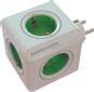 ALLOCACOC PowerCube Original Stikkontakt - 5xCEE 7/4, 1xCEE 7/7 tilkobling, barnesikrede kontakter, hvit/grønn