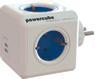 ALLOCACOC PowerCube Original USB - 4xCEE 7/4-uttak og 2xUSB for ladning av mobile enheter, 1xCEE 7/7 tilkobling, barnesikrede kontakter, hvit/blå