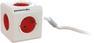 ALLOCACOC PowerCube Extended stikkontakt - m/skjøteledning, 5xCEE 7/4, 1xCEE 7/7 tilkobling, 1,5 meter kabel, barnesikrede kontakter, hvit/rød