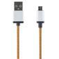 STREETZ USB-kabel, Tygklädd, Typ A ha - Typ Micro B, 1m, orange