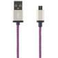 STREETZ USB-kabel, Tygklädd, Typ A ha - Typ Micro B, 1m, lila