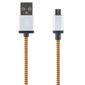 STREETZ USB-kabel, Tygklädd, Typ A ha - Typ Micro B, 2m, orange