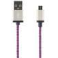 STREETZ USB-kabel, Tygklädd, Typ A ha - Typ Micro B, 2m, lila