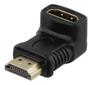 DELTACO HDMI-adapter, 19-pin ha till ho, vinklad, svart