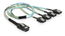 DELOCK Multilane SAS-kabel SFF8087 till 4xSATA 7-pin, rundkabel, 1 m