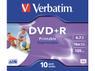 VERBATIM DVD+R Media 16X Wide Inkjet Printable 4.7GB Advanzed AZO 10 Pack Jewel Case Retail